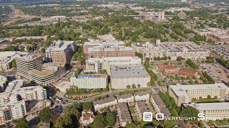 North Carolina Charlotte Aerial Panning cityscape from neighborhood to downtown views