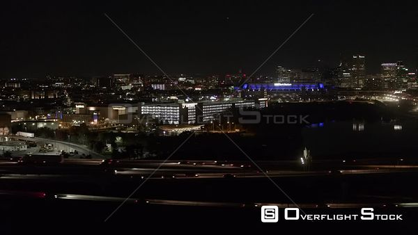 Drone Aerial View of Baltimore City Skyline Maryland