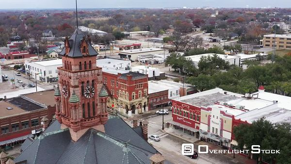 Downtown in a Small Town with a  Courthouse, Waxahachie, Texas, USA