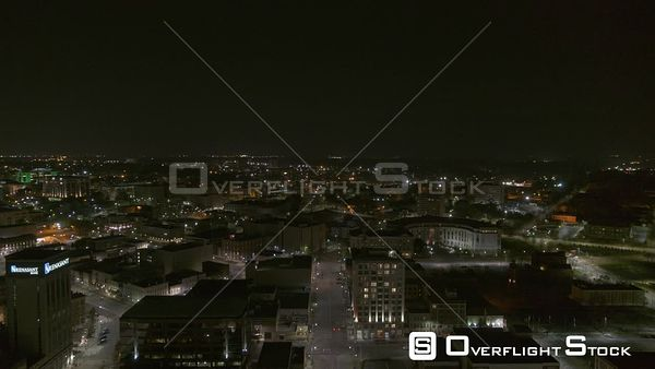 Montgomery Alabama revealing shot of downtown and the suburbs by night  DJI Inspire 2, X7, 6k