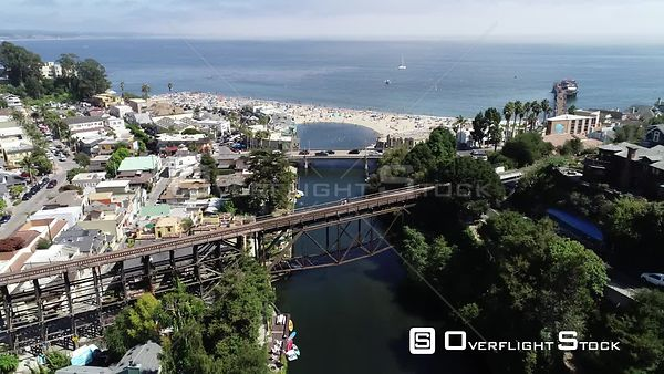 Capitola Beach and Soquel Creek on Monerey Bay California Drone Video