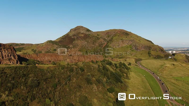 Aerial view of Arthur's seat, a volcanic formation in Edinburgh Scotland