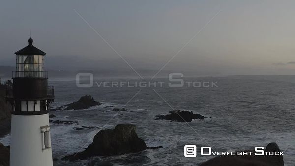 Yaquina Head Lighthouse Oregon Drone Aerial View