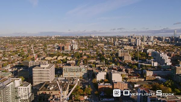 Toronto Ontario Short fly over above Fashion District and Alexandra Park with clouds