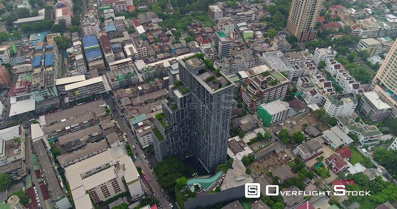 Thailand Bangkok Aerial Vertical rooftop to cityscape view of Thung Maha Mek