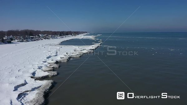 Frozen Shoreline of Lake Ontatio In Winter Rochester New York Drone Aerial View