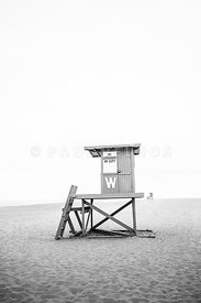 Newport Beach Lifeguard Tower W Wedge Black and White Photo