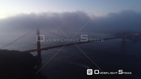 Golden Gate Bridge on a Foggy Misty Early Morning San Francisco California Drone Video