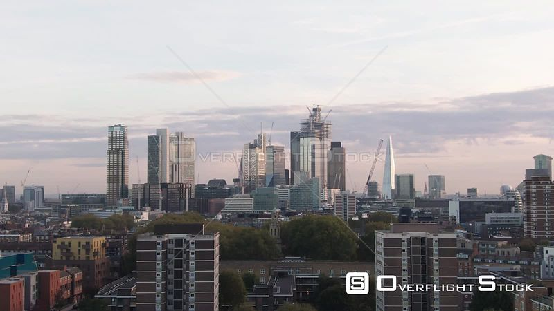 Skyline of the City of London from the North England