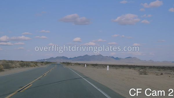 Long Straight Desert Highway SR95 CA  California USA - Center Front View Driving Plate Cam2 Feb 27, 2020