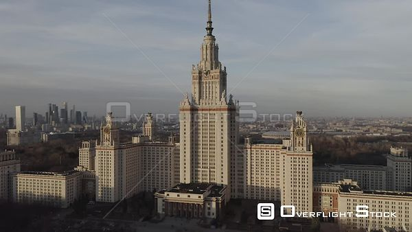 Sunset Backwards Flight from Moscow State University With MBCC. Moscow Russia Drone Video View