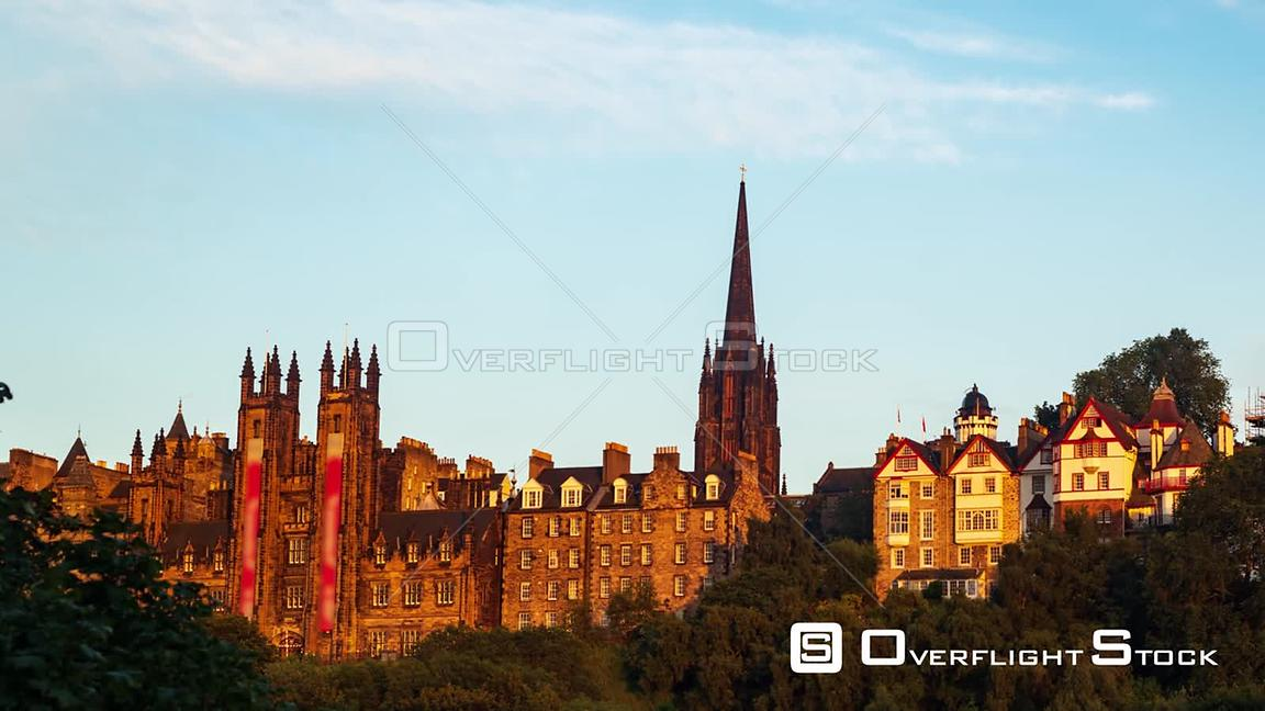 Timelapse Panning View of the Old Town of Edinburgh Scotland from Prince Gardens