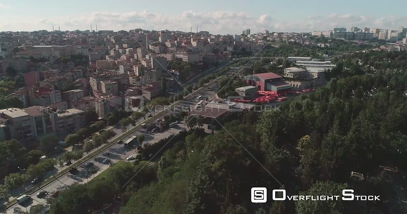 Aerial View Istanbul With Local Mosque and Highway Turkey