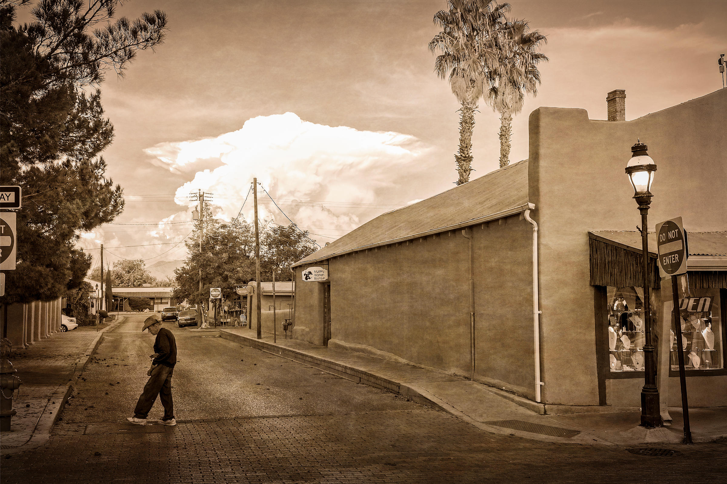 Man Crossing Street in Old Mesilla