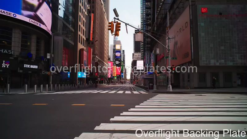 42nd and 7th Deserted Streets During Covid-19 Pandemic Time Square Manhattan New York New York USA - BackingPlate Apr 26, 2020