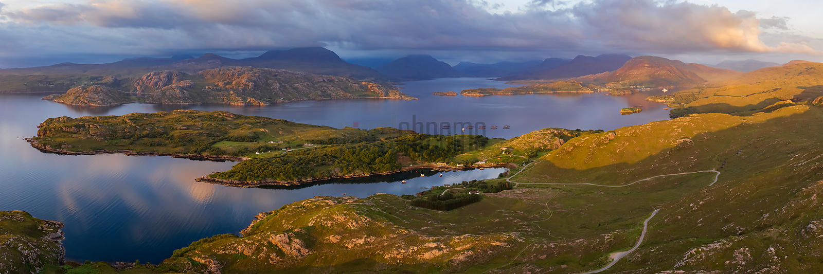 Aerial View of the Landscape around Loch Torridon, Loch Shieldaig and Upper Loch Torridon