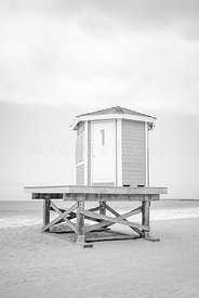 Seal Beach Lifeguard Tower One Black and White Photo