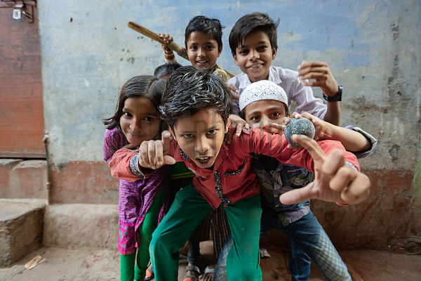 Children Posing for a Photograph in a Street in Badhi Bazaar