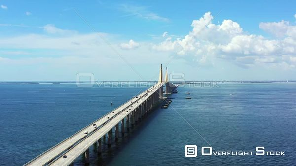Aerial hyper lapse of the Sunshine Skyway Bridge St Petersburg Florida over Tampa Bay 4k