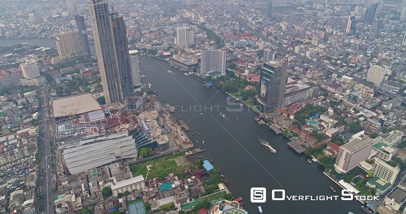 Thailand Bangkok Aerial Elevating birdseye river & cityscape view