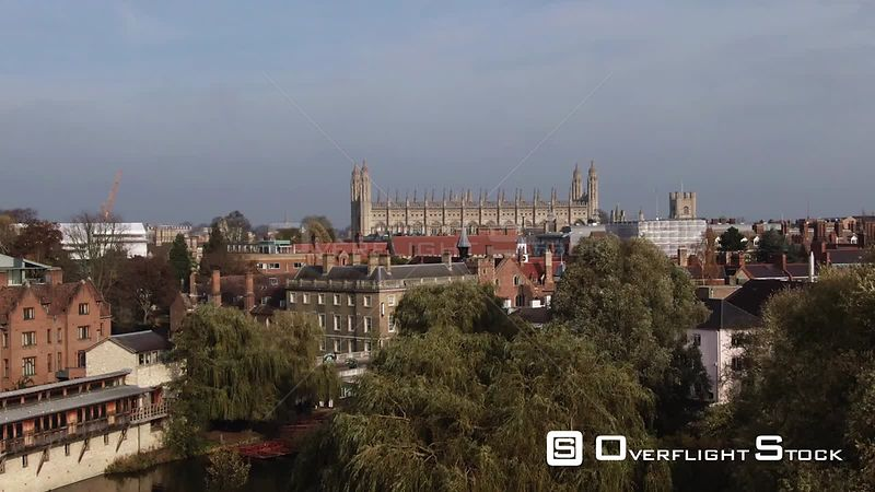 Aerial ascending view of the center of the town of Cambridge England from the South. United Kingdom