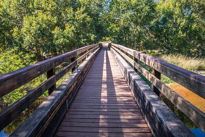A very long boardwalk surrounded by shrubs in Red Rock State Park, Arizona