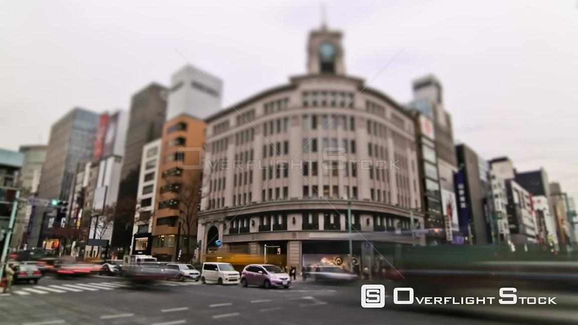 City traffic time lapse of intersection in Ginza district. Japan