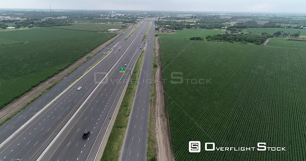 Overflight of Interstate Highway 2, approaching exit sign, La Feria, TX, USA