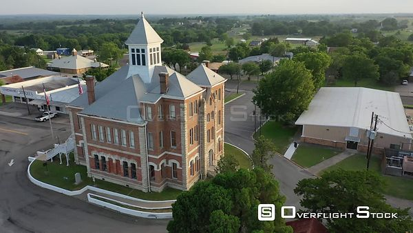 Orbiting flight around the old Grimes County Courthouse and jail, Anderson, Texas, USA