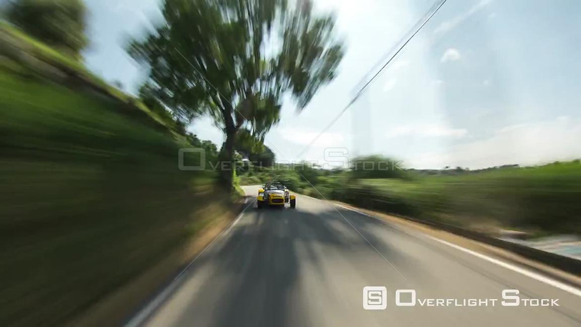 Driving time lapse with rear view POV in south of France.
