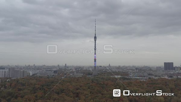 Moscow Teletower at Ostankino  Approach Over the Autumn Park. Moscow Russia Drone Video View
