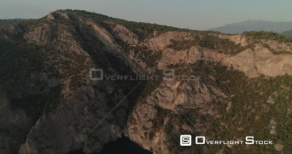 Aerial View of Afkule Monestry Embdedded in Cliff in Fethiye Turkey
