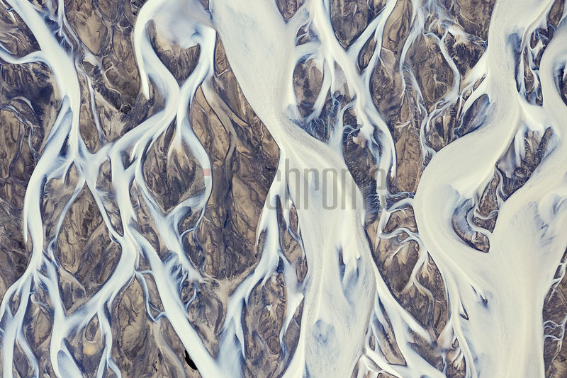 The Braided Channels of the Tungná River which Flows from Vatnajökull Glacier