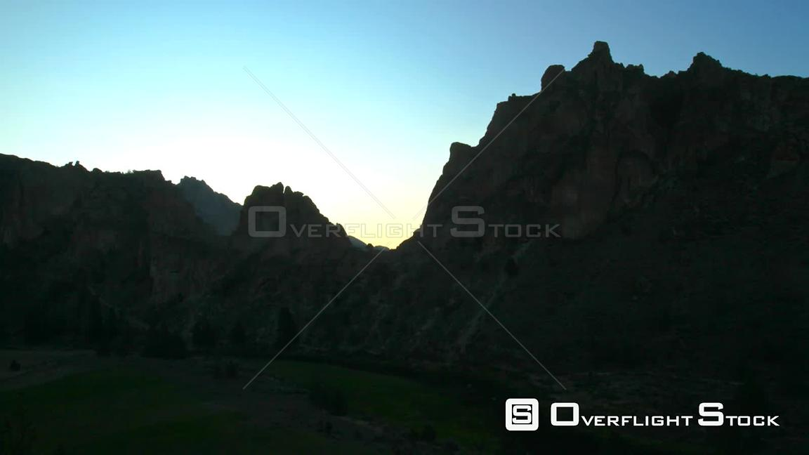 Oregon USA Time lapse of Smith Rocks during sunrise.