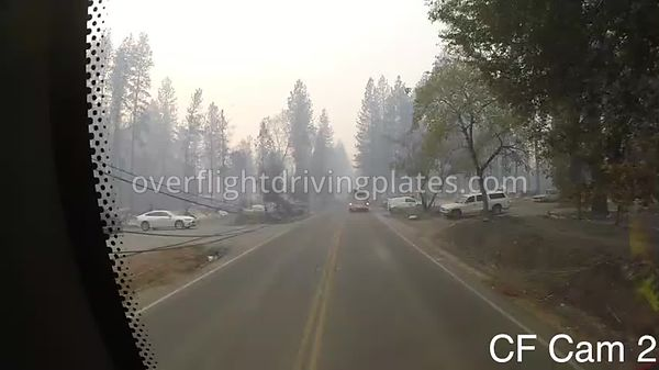 Camp Fire Post Fire Smoke  Paradise California USA - Center Front View Driving Plate Cam17 Feb 15, 2019