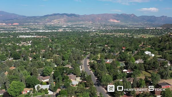 Rocky Mountain views over residential area, Colorado Sprinbgs, Colorado, USA