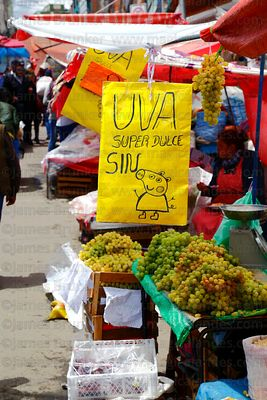 Stall selling grapes in market on New Year's Eve, La Paz, Bolivia
