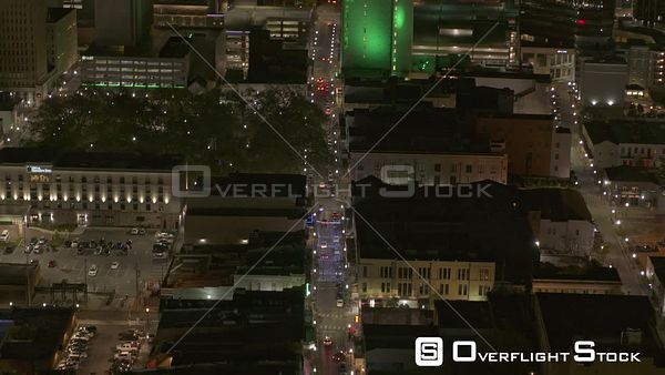 Mobile Alabama Birdseye view of Dauphin street, tilting up to reveal downtown cityscape and river  DJI Inspire 2, X7, 6k