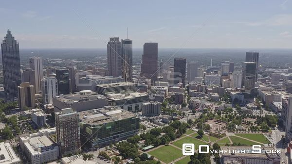 Atlanta Panning around downtown cityscape with park and tower views