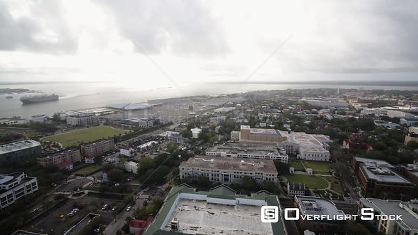 South Carolina Charleston Aerial Panoramic water view from French Quarter neighborhood