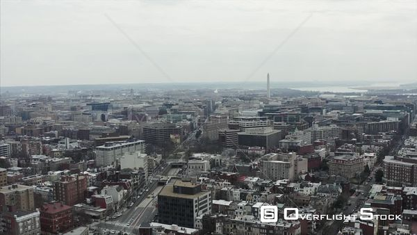 Dreary Winter Day Drone Aerial View of Northwest Washington DC Skyline