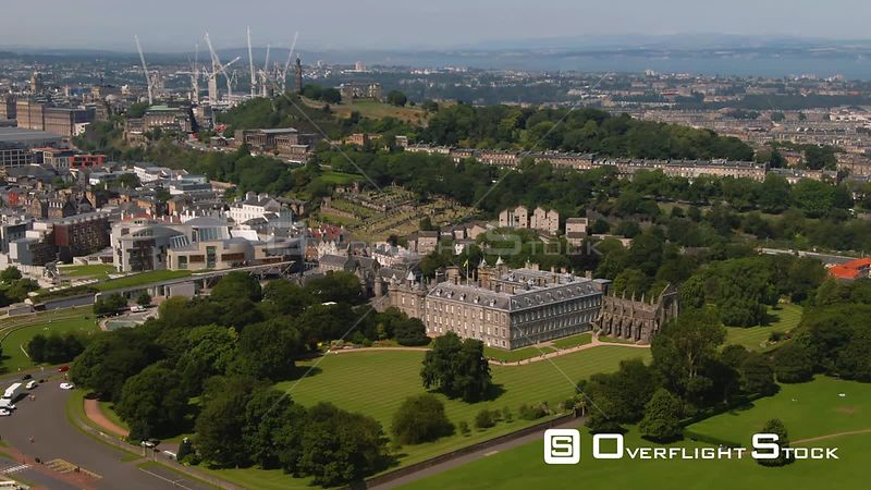Aerial view of Holyroodhouse palaceand the Scottish Parliament in Edinburgh