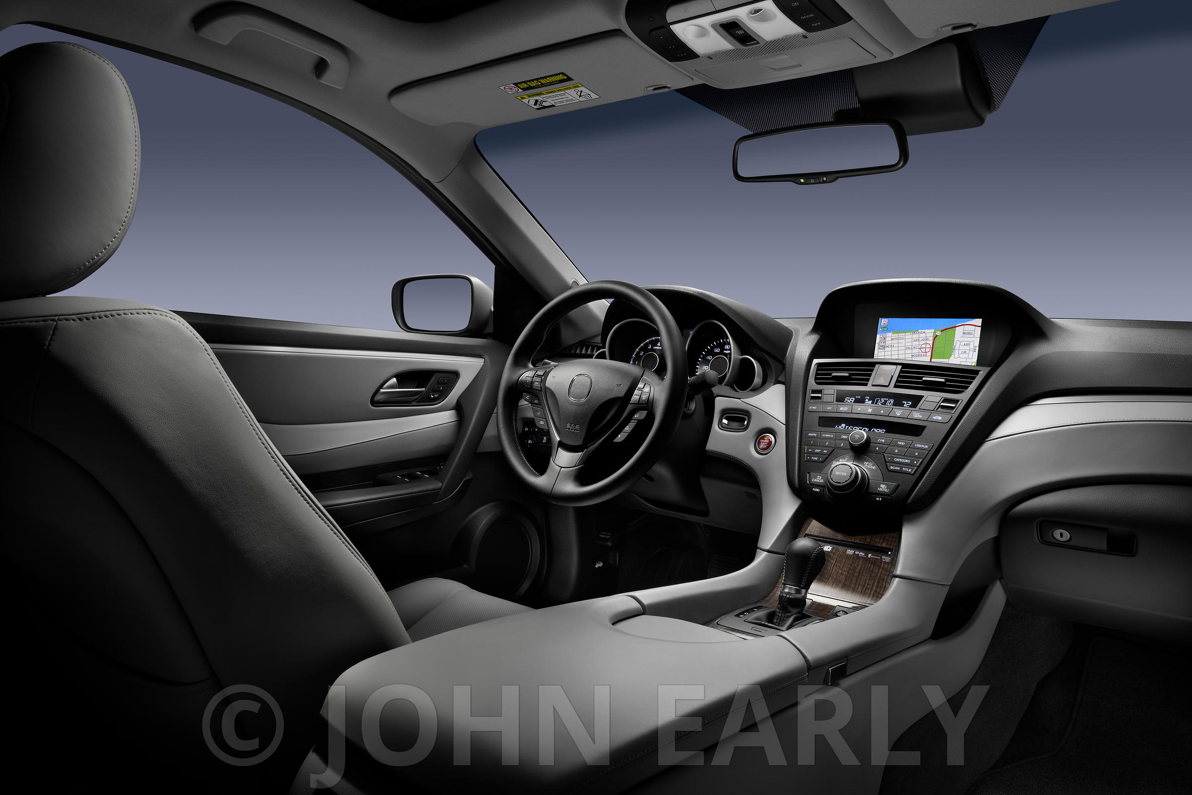 Dramatic Moody Car Dash With Bluish Grey Background