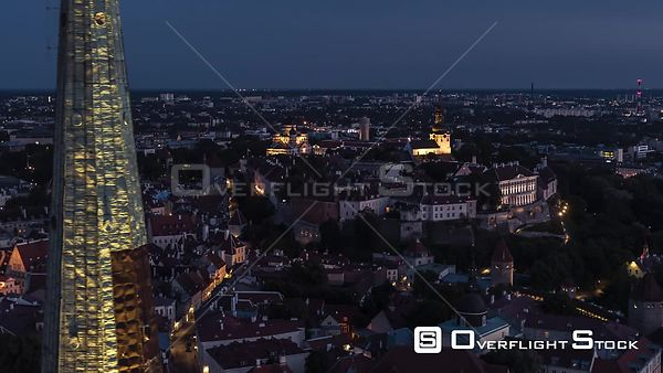 Drone Video Sunset Historic Capital Tallinn Estonia