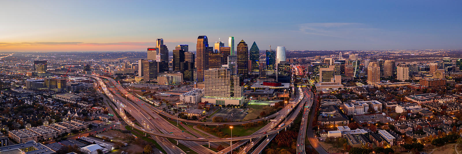 Elevated View of the Dallas Skyline at Dawn