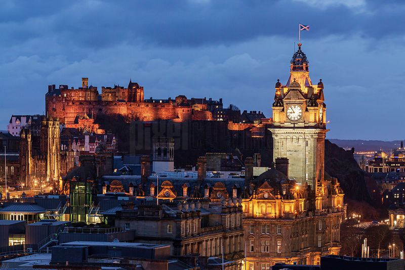 Elevated View of the Old City of Edinburgh from Calton Hill at Dusk