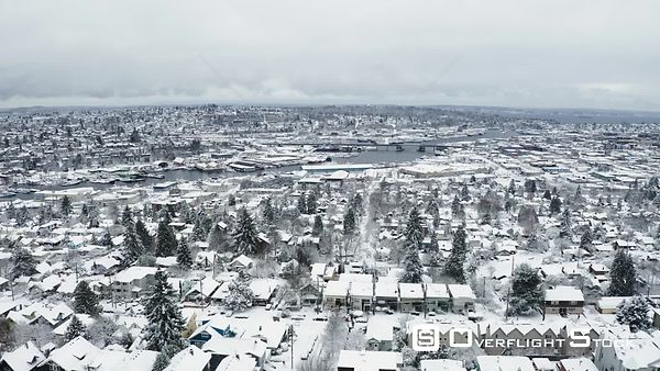 Suburban Neighbourhood Seattle on a Snowy Winter Day Washington State