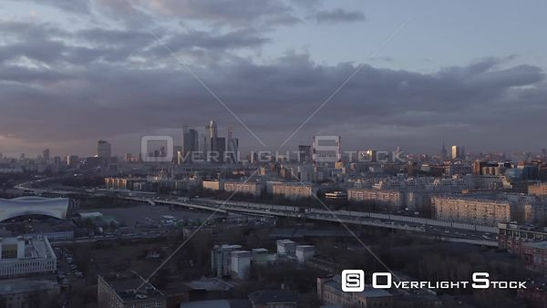Sunset Backward Flying from Moscow City. Moscow Russia Drone Video View