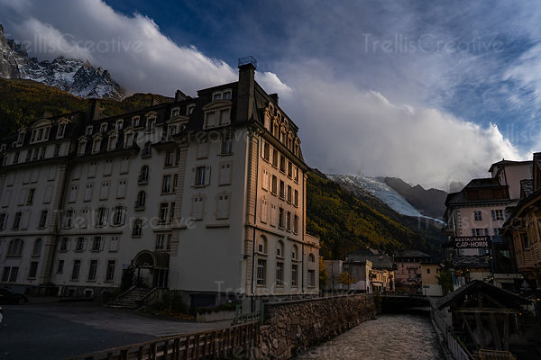 View of downtown Chamonix, France at sunset