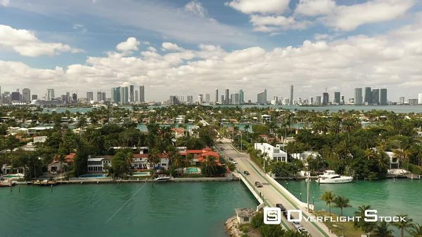 Aerial Venetian Islands Miami Beach Bridge Surrounded by Homes